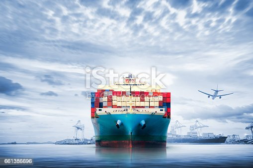 693774520 istock photo Logistics and transportation of International Container Cargo ship and cargo plane in the ocean at twilight sky, Freight Transportation, Shipping 661386696