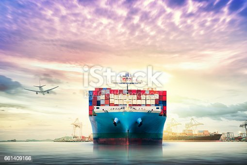 693774520 istock photo Logistics and transportation of International Container Cargo ship and cargo plane in the ocean at twilight sky, Freight Transportation, Shipping 661409166