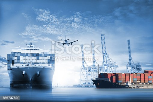 693774520istockphoto Logistics and transportation of International Container Cargo ship and cargo plane in the ocean at twilight sky 666737592