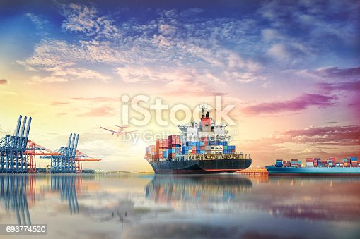 693774520 istock photo Logistics and transportation of International Container Cargo ship and cargo plane in the ocean at twilight sky, Freight Transportation, Shipping 693774520
