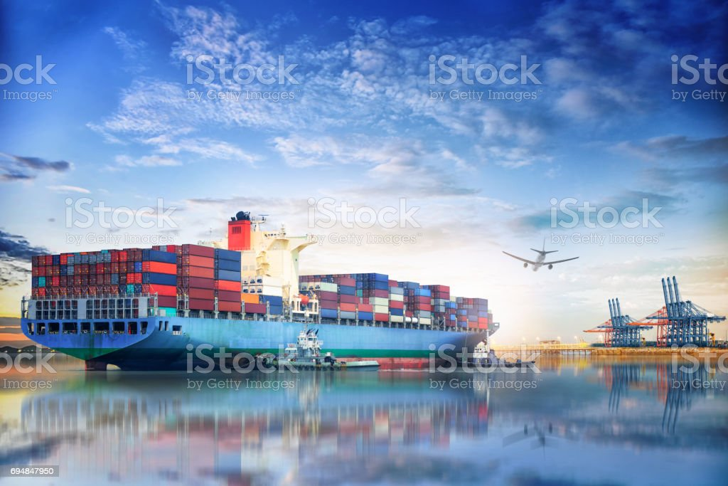 Logistics and transportation of International Container Cargo ship and cargo plane in the ocean at twilight sky, Freight Transportation, Shipping stock photo