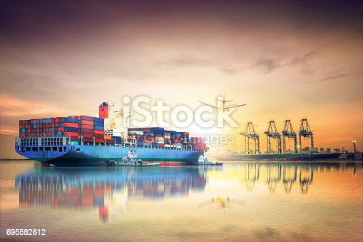 693774520 istock photo Logistics and transportation of International Container Cargo ship and cargo plane in the ocean at sunset sky, Freight Transportation, Shipping 695582612