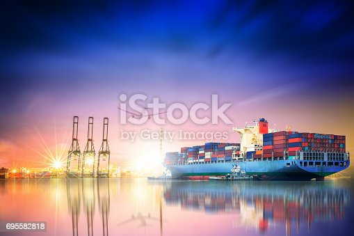 693774520 istock photo Logistics and transportation of International Container Cargo ship and cargo plane in the ocean at twilight sky, Freight Transportation, Shipping 695582818