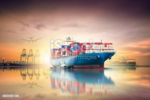 693774520 istock photo Logistics and transportation of International Container Cargo ship and cargo plane in the ocean at sunset sky, Freight Transportation, Shipping 695585188