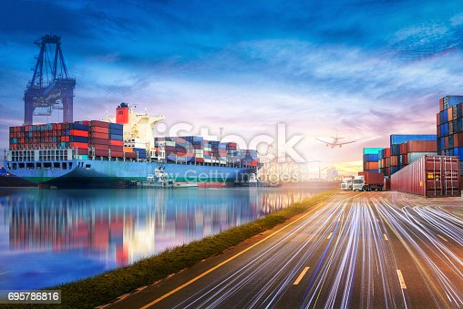 693774520 istock photo Logistics and transportation of International Container Cargo ship and cargo plane in the ocean at twilight sky, Freight Transportation, Shipping 695786816