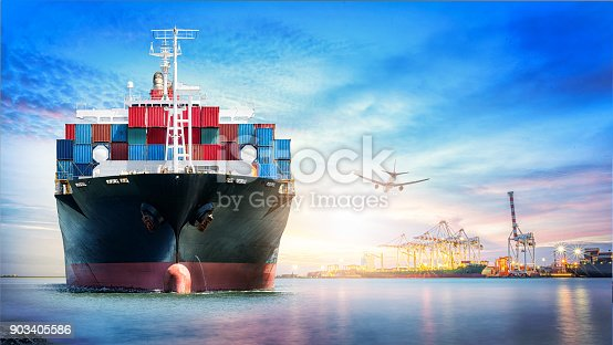 693774520 istock photo Logistics and transportation of International Container Cargo ship and cargo plane in the ocean at twilight sky, Freight Transportation, Shipping 903405586