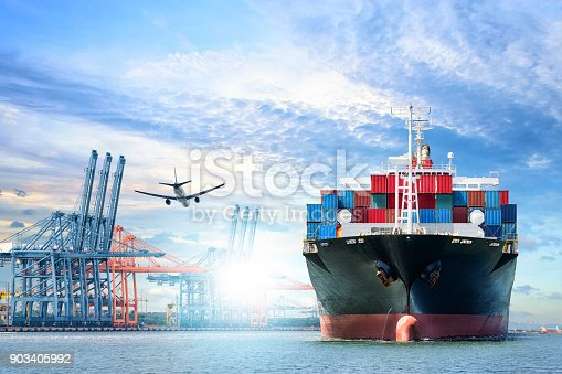 693774520istockphoto Logistics and transportation of International Container Cargo ship and cargo plane in the ocean at twilight sky, Freight Transportation, Shipping 903405992