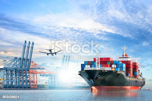693774520 istock photo Logistics and transportation of International Container Cargo ship and cargo plane in the ocean at twilight sky, Freight Transportation, Shipping 903406624