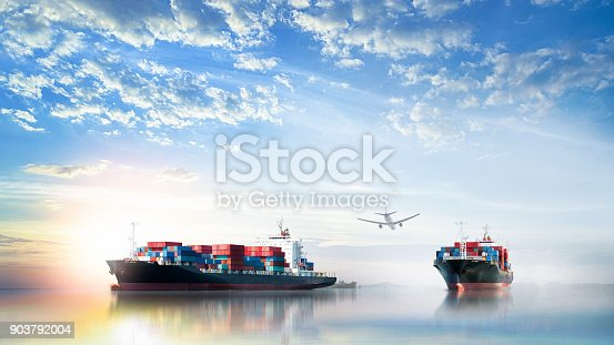 693774520istockphoto Logistics and transportation of International Container Cargo ship and cargo plane in the ocean at Sunset sky, Freight Transportation, Shipping 903792004