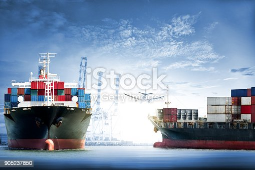 693774520 istock photo Logistics and transportation of International Container Cargo ship and cargo plane in the ocean at twilight sky, Freight Transportation, Shipping 905237850