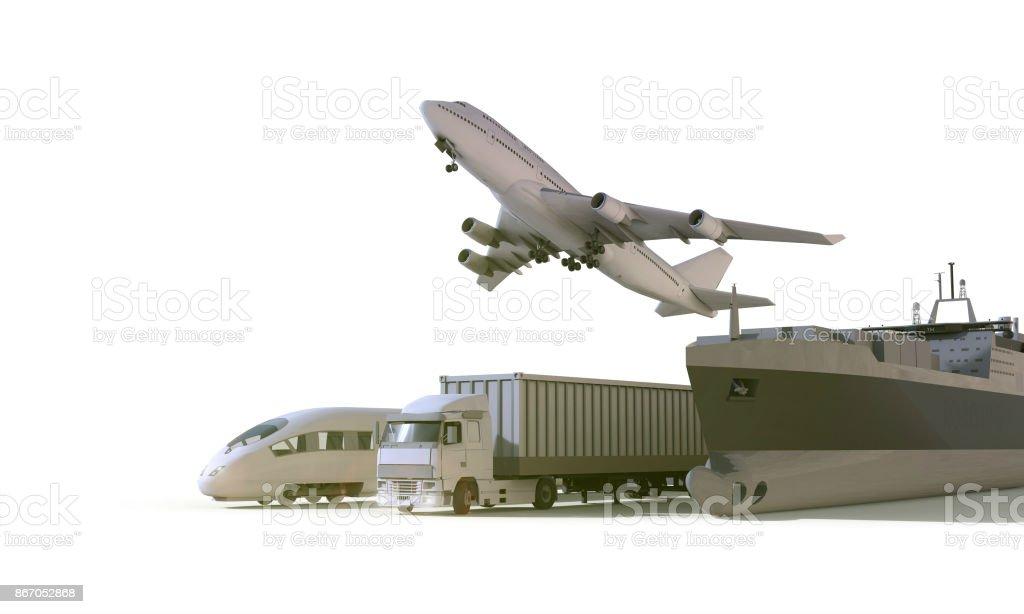 Logistique et transport camion, train à grande vitesse, bateau en avion cargo fret sur fond isolat - Photo