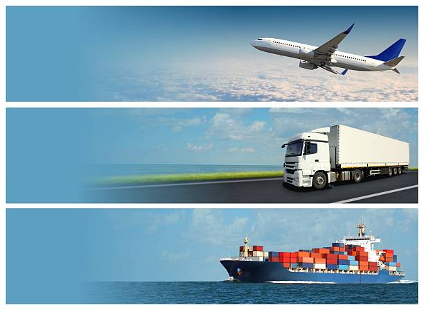 logistics banners - land vehicle stock photos and pictures