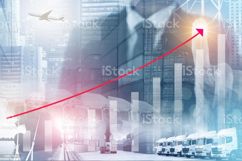 Logistics Business Industry Growing With Infographic Of Incresing Graph And  Transportation Modes At The Background Stock Photo - Download Image Now
