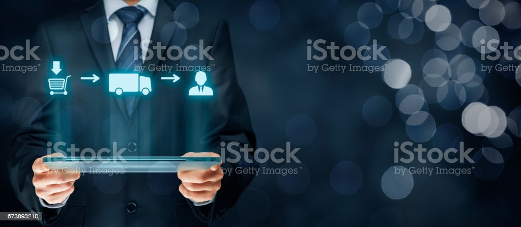 Logistics chain concept Logistics chain concept. From customer shopping (purchase) over transportation (delivery, cargo) to customer scheme. Adult Stock Photo