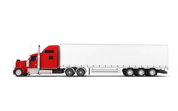 conceito de logística. americana freightliner carga caminhão vermelho com recipiente movendo da direita para a esquerda, isolada no fundo branco. vista do lado esquerdo. ilustração 3d - vista lateral - fotografias e filmes do acervo