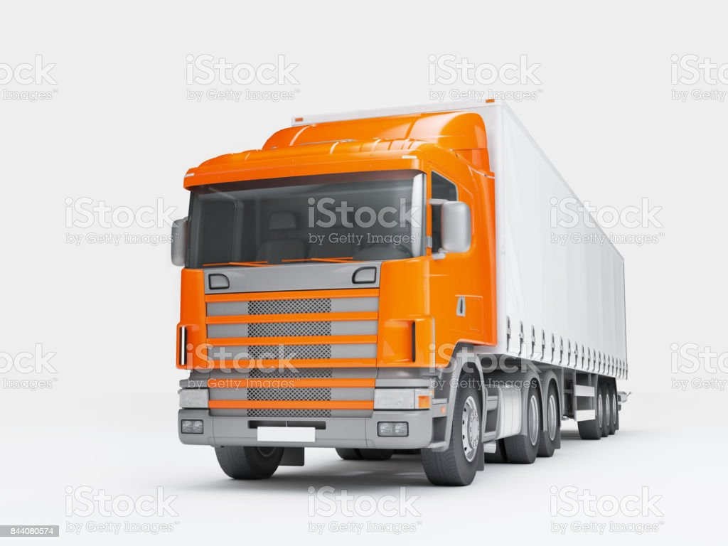 Logistics concept. Cargo truck transporting goods isolated on white background. Front perspective view. 3D illustration stock photo