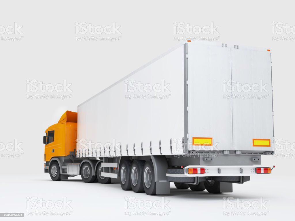 Logistics concept. Cargo truck transporting goods isolated on white background. Rear view. 3D illustration stock photo