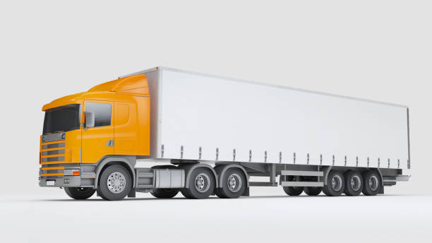 Logistics concept. Cargo truck transporting goods isolated on white background. Side view. 3D illustration stock photo
