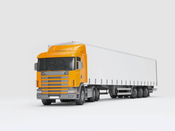 Logistics concept. Cargo truck transporting goods turned into camera. isolated on white background. Front perspective view. 3D illustration stock photo