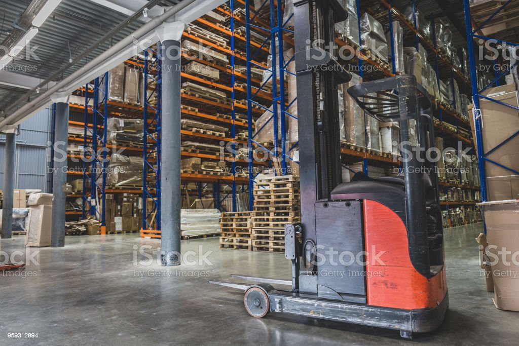 Logistics concept. Huge industrial warehouse, business shipping and...
