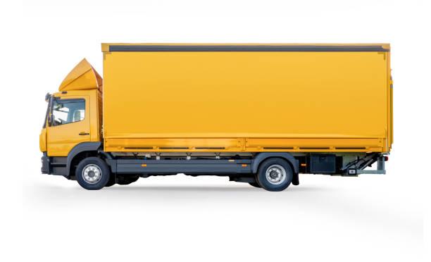 Concept de logistique. Transport de cargaison de marchandises avec le chemin de découpage sur le fond blanc - Photo