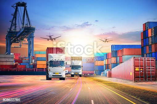 693774520istockphoto Logistics import export background and transport industry of Container Cargo freight ship and Cargo plane at seaport 808622784