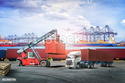 693774520 istock photo Logistics import export background and transport industry of forklift handling container box loading at seaport 802869784