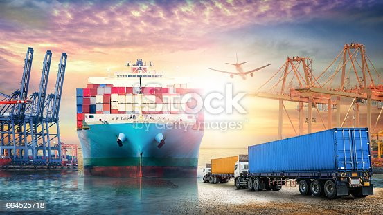 693774520istockphoto Logistics import export background and transport industry of Container truck and Cargo ship with working crane bridge in seaport at sunset sky 664525718