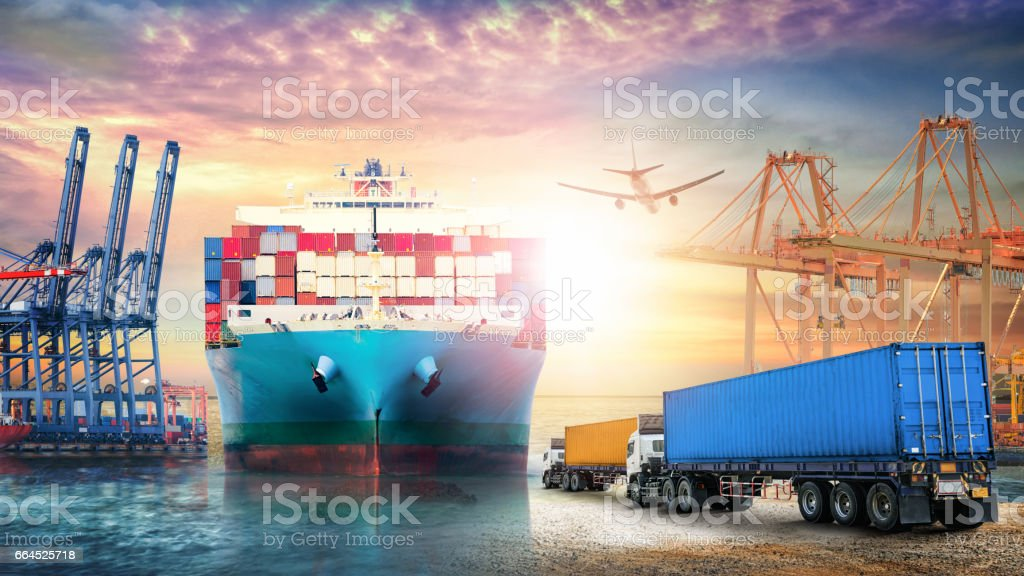 Logistics import export background and transport industry of Container truck and Cargo ship with working crane bridge in seaport at sunset sky stock photo