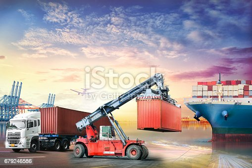 693774520 istock photo Logistics import export background and transport industry of Container truck and Cargo ship in seaport at sunset background 679246586