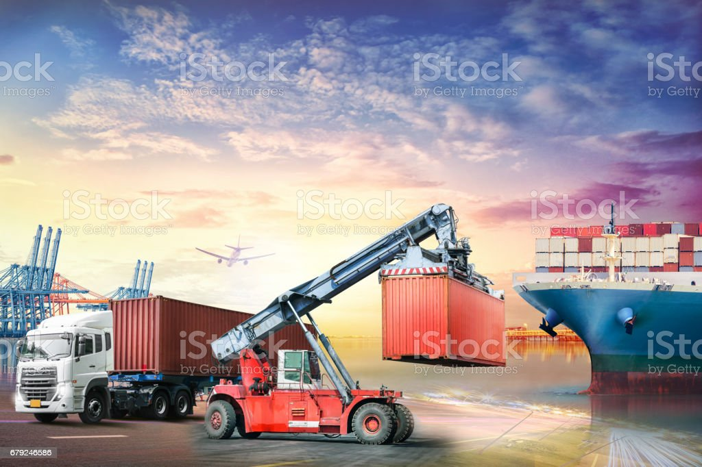 Logistics import export background and transport industry of Container truck and Cargo ship in seaport at sunset background stock photo