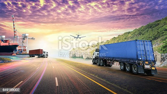 693774520 istock photo Logistics import export background and transport industry 649169002