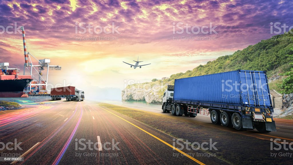 Logistics import export background and transport industry stock photo