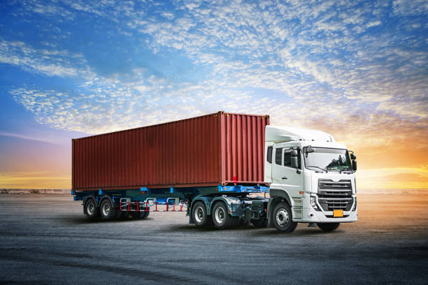 logistics import export background of container truck at the dock - lorries unloading stock photos and pictures