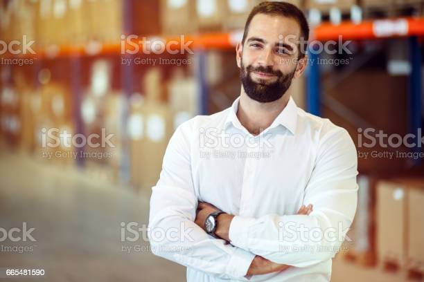 Logistics Manager Warehouse Portrait Stock Photo - Download Image Now