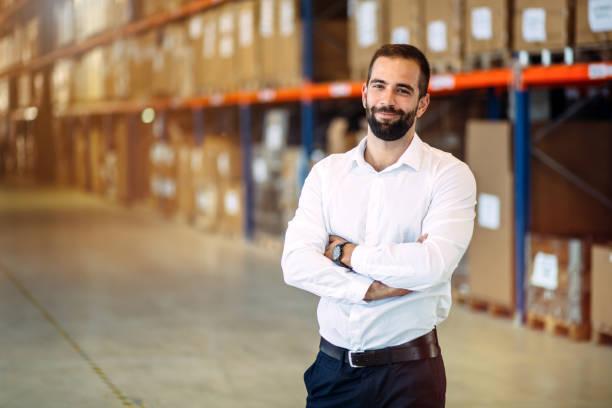 Logistics manager warehouse portrait stock photo