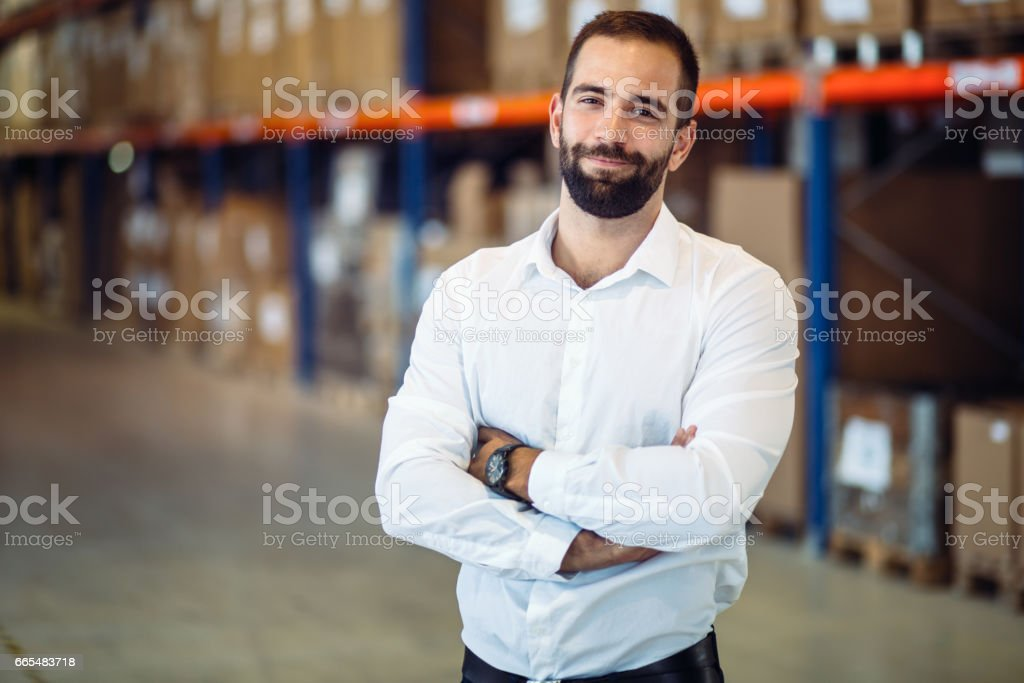 Logistics manager warehouse portrait stock photo