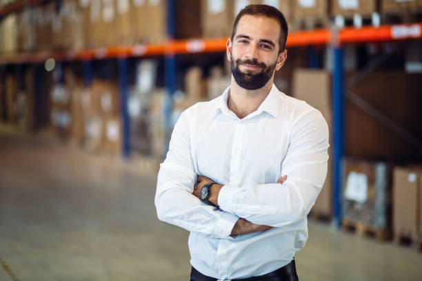 Logistics manager warehouse portrait – Foto