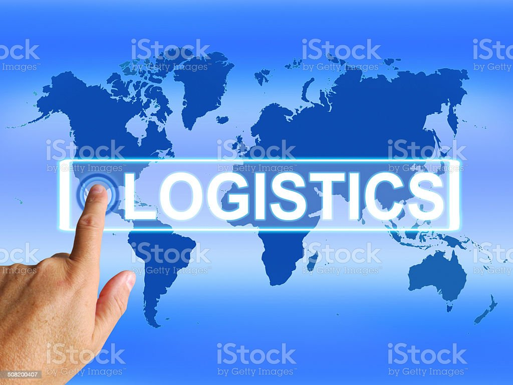 Logistics Map Indicates Logistical Coordination and Internationa stock photo