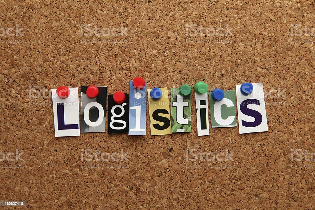 Logistics pinned on noticeboard royalty-free stock photo