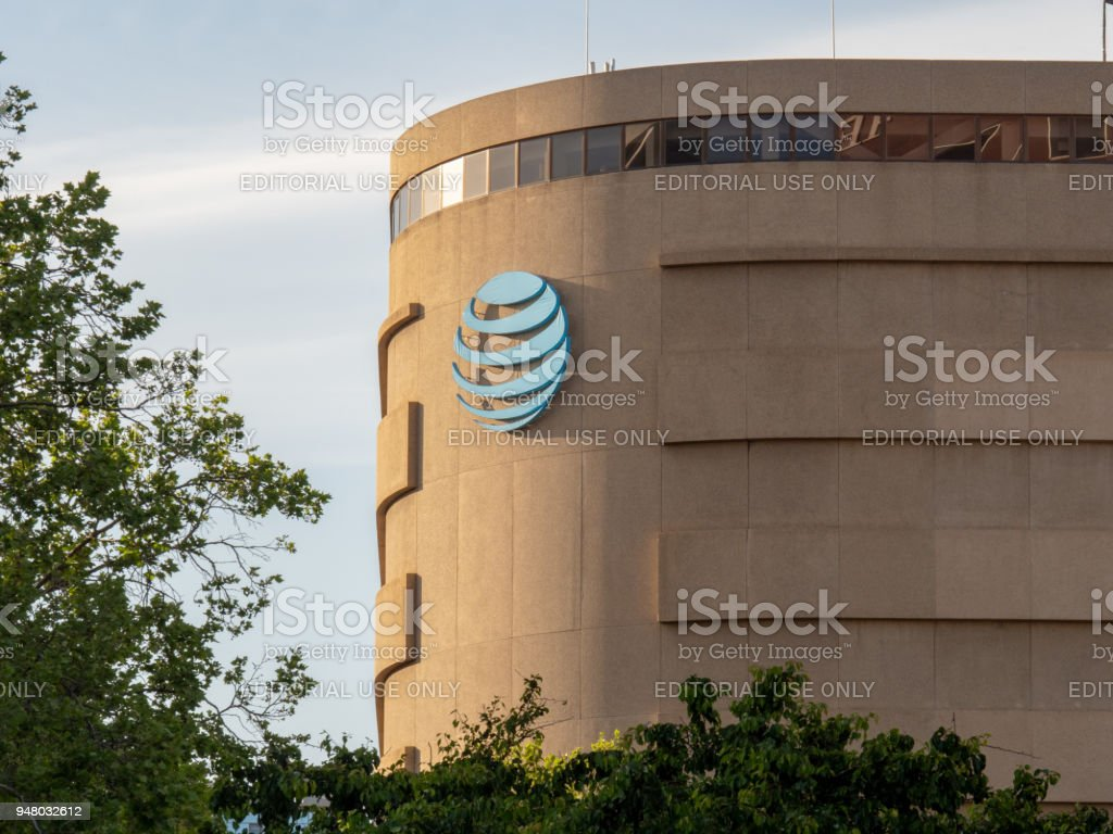 AT&T logo adoring an office building in a Silicon Valley location stock photo