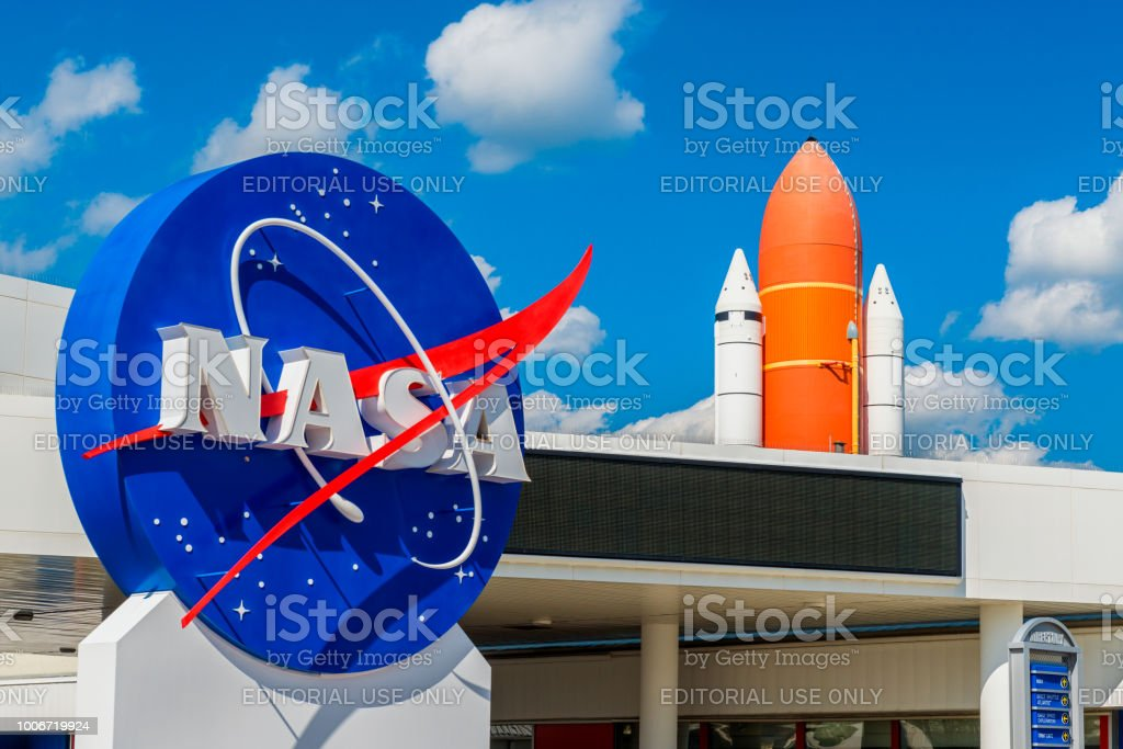 NASA Logo and Atlantis Space Shuttle at Kennedy Space Center Florida stock photo