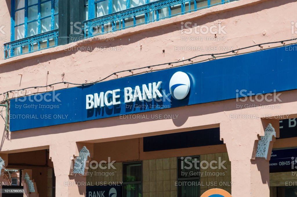 Logo and sign of BMCE bank in Marrakech.