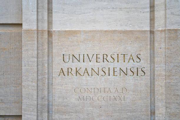 Logo at Entrance to University of Arkansas stock photo