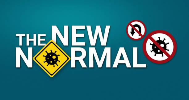 """logo graphic design """"new normal"""" text for ad - new normal foto e immagini stock"""