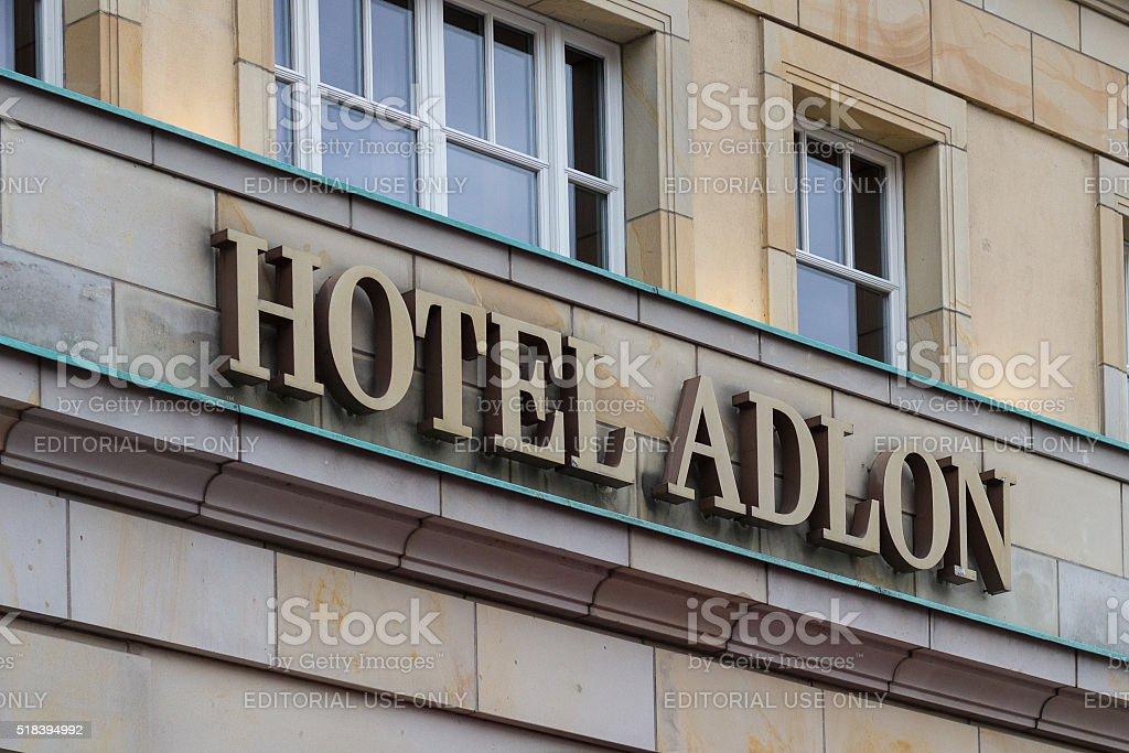 Logo of famous Hotel Adlon in Berlin stock photo