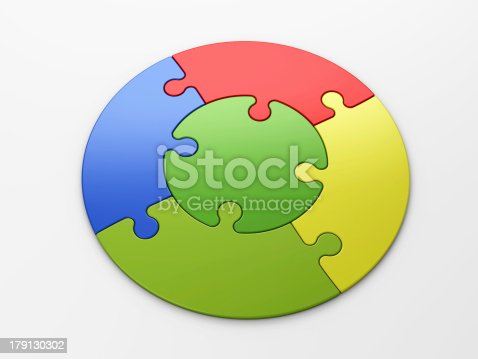 472678222 istock photo Logo of multicolored interlocking pieces in a circular shape 179130302