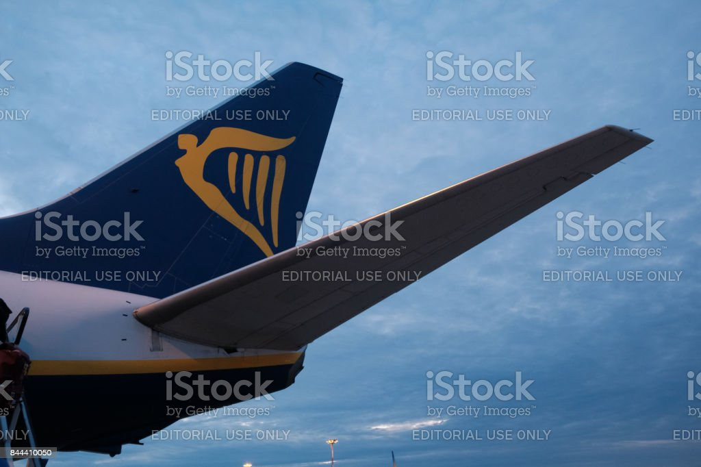 Logo of Ryanair airplane stock photo