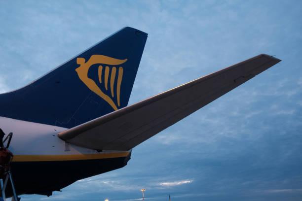 Logo of Ryanair airplane stock photo