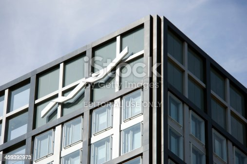 Eschborn, Germany - October 4, 2011:Logo of the  Deutsche Boerse AG at edge of their headquarter